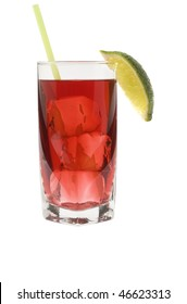 Cape Codder mixed drink with lime wedge on white background