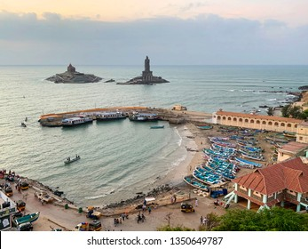 Cape Comorin (Kanyakumari), India, West Bengal (Tamil Nadu), March, 15, 2019. Sunrise at Cape Comorin (Kanyakumari). The southern most point of India