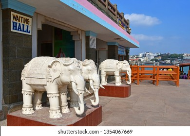 Cape Comorin (Kanyakumari), India, West Bengal (Tamil Nadu), March, 15, 2019.Sculptures of elephants at the entrance to the memorial dedicated to Swami Vivekananda India. Kanyakumary