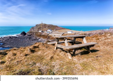 cape cornwall and porth nanven coastline. Picnic bench