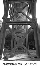 Cape Creek Bridge in Florence, Oregon. Close up architectural detail in timeless black and white