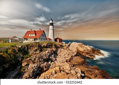 Cape Elizabeth Lighthouse at Sunset