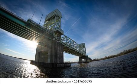 The Cape Fear Memorial Bridge, in downtown Wilmington, NC, USA.