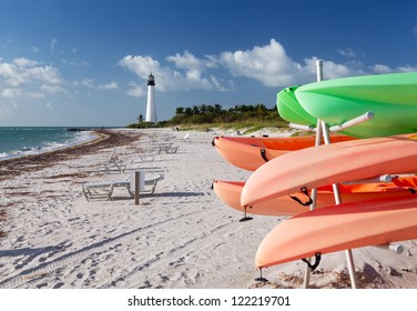 Cape Florida Lighthouse Bill Baggs State Park in Key Biscayne Florida with rental canoes kayaks