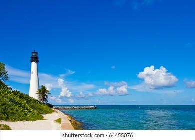 Cape Florida Lighthouse, Key Biscayne, Miami, Florida, USA