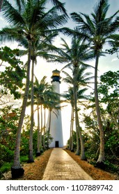 The Cape Florida Lighthouse located at the Bill Baggs State Park near Key Biscayne, Florida