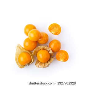 Cape Gooseberry isolated on white background. top view