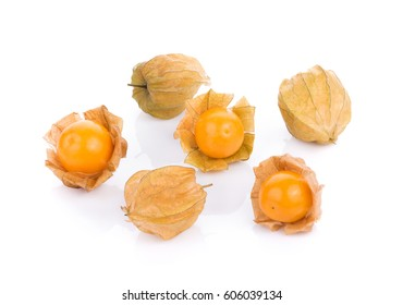 cape gooseberry on white background. physalis
