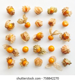 Cape gooseberry pattern on a white background, top view flat lay