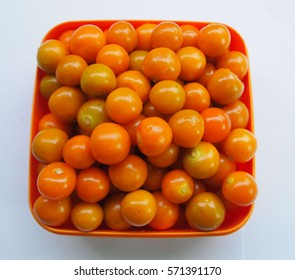 Cape Gooseberry   in a plate on white background