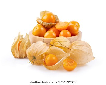Cape Gooseberry in wood bowl isolated on white background