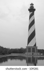 Cape Hatteras lighthouse in black and white