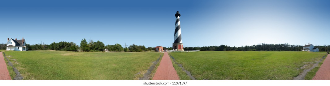 Cape Hatteras lighthouse and grounds panoramic view