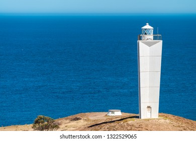 Cape Jervis Lighthouse viewed from lookout, Fleurieu Peninsula, South Australia