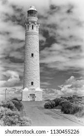 CAPE LEEUWIN, AUSTRALIA - FEBRUARY 7, 2018: Cape Leeuwin Lighthouse, the most southwestern point of Australia where the Indian Ocean meets the Southern Ocean on February 7, 2018 in Western Australia