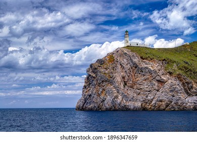 The cape and lighthouse of Papas, in Ikaria island, Greece