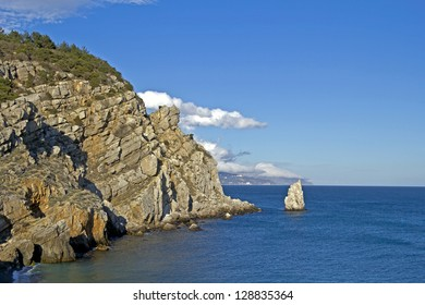 Cape Limen-Burun and rock The Sail in Gaspra, Big Yalta district, Crimea