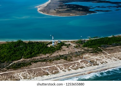 cape lookout island and lighthouse aerial view