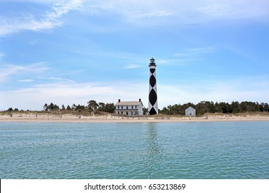 Cape Lookout Lighthouse on the Southern Outer Banks or Crystal Coast of North Carolina viewed from the water