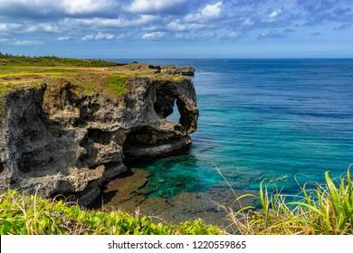 Cape Manzamo (Manzamou lit), Okinawa , Japan. It is a scenic rock formation on Okinawa Island.