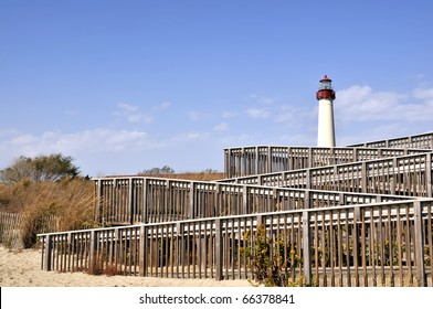 Cape May Lighthouse With Beach Steps Foreground Horizontal With Copy Space