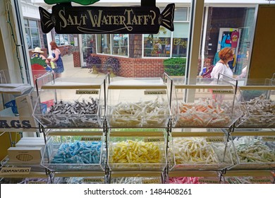 CAPE MAY, NJ -14 AUG 2019- View of Salt Water Taffy candy for sale in Cape May, on the New Jersey Shore, United States.