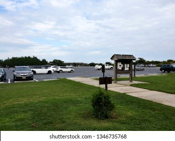 Cape May, NJ - August 22 2018: The parking lot at Cape May Point State Park