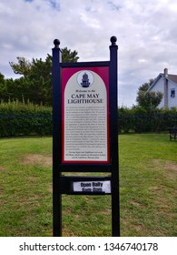 Cape May, NJ - August 22 2018: A welcome sign for the Cape May Lighthouse