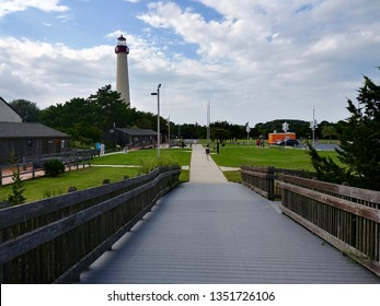 Cape May, NJ - August 22 2018: View of Cape May Lighthouse and the boardwalk at Cape May Point State Park