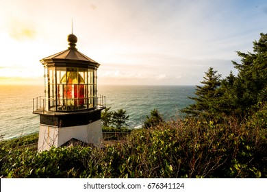 Cape Meares Lighthouse Sunset over the Pacific Ocean