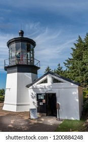 Cape Meares State Scenic Viewpoint Lighthouse built in 1890. Features the Sallie Jacobson Interpretive Kiosk, and interpretive panels at key scenic viewpoints.