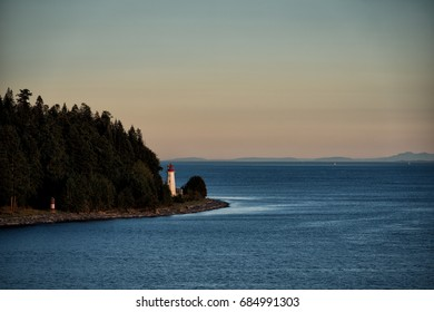 Cape Mudge Lighthouse at dawn in summer in British Columbia, Canada