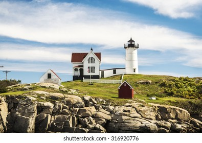 Cape Neddick Lighthouse at old village of York in Maine, USA