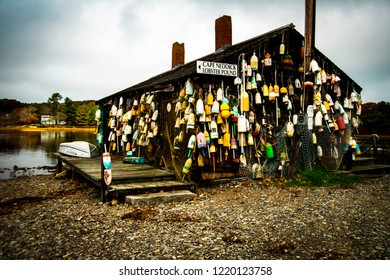 Cape Neddick, Maine, USA: October 21st, 2018:  A landscape shot of The Cape Neddick Lobster Pound shack along the York River in Maine.  This lobster pound is a  very old and iconic building in Maine.
