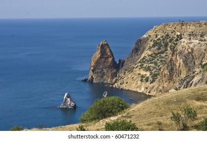 Cape (promontory) Fiolent in region Crimea on Black sea.
