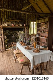 CAPE RANDOM, NEWFOUNDLAND, CANADA - JULY 23, 2018: Cabin interior at Random Passage movie set, replica of fishing village.
