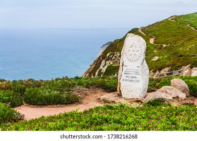 Cape Roca, Portugal - April 21, 2016:  the extreme western point of continental Europe (Cabo da Roca)