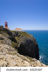 "Cape Saint Vincent's ""Sao vicente"" old lighthouse, at the southwestern end of Europe, Sagres, Algarve, Portugal, home of Henry the navigator, and the Portuguese ""Man of war"" XVI century vessels"