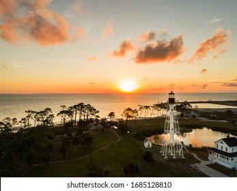 Cape San Blas Florida Lighthouse at sunset