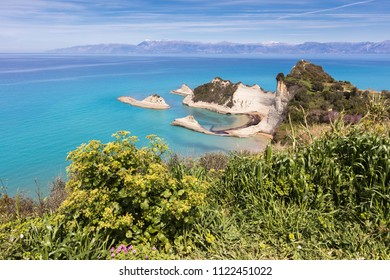 A cape of sandy rocks at the north-west coast of Corfu island