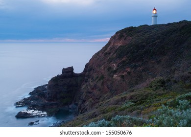Cape Schanck Lighthouse at dusk in Mornington Peninsula, Victoria, Australia