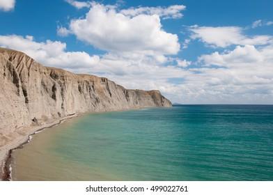 Cape Tolstiy and calm Black Sea, east of Crimea, Russia