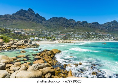 Cape Town Camps Bay beach with Table Mountain Range in background
