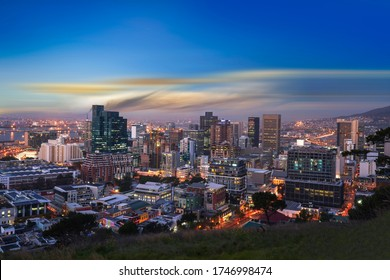 Cape Town city CBD skylines at night just after sunset