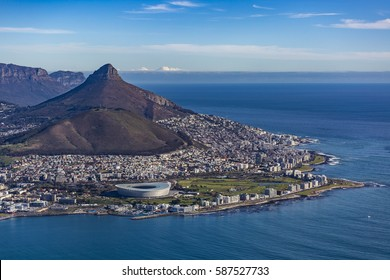 Cape Town Harbour City Table Mountain Ariel View