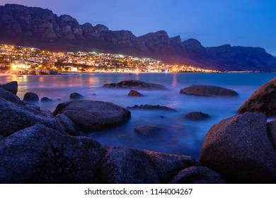 Cape Town. Night view to Camps Bay and Oudekraal from Clifton