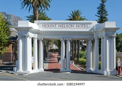 Cape Town, Republic of South Africa - April 11: Gate to the Mount Nelson Hotel on April 11, 2018 in Cape Town, Republic of South Africa.