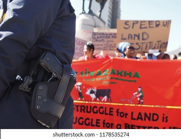 Cape Town, South Africa -11 September 2018 : Land Rights Protestors March to Parliament in Cape Town, South Africa