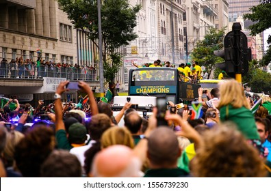 Cape Town, South Africa - 11 November 2019: Rugby World Cup 2019 champions, the Springboks, on their Springbok Trophy Tour through the country.