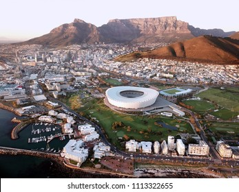 Cape Town, South Africa - 12 June 2018 : Cape Town's iconic soccer stadium dominates the landscape of the city from the air.